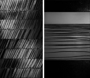 """Pierre Soulages. (left) """"Peinture, 296 x 165 cm, 4 janvier 2014″ 2014, Acrylic on canvas, 116 1/2 x 65 inches / 296 x 165 cm. (right) """"Peinture 309 x 181 cm, 12 décembre 2013″ 2013, Acrylic on canvas, 121 3/4 x 71 1/4 inches / 309 x 181 cm. Photos: Vincent Cunillère. © ARS, New York & ADAGP, Paris 2014."""