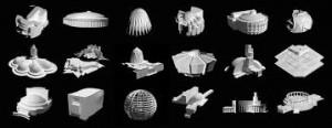 photographie des maquettes réalisées pour l'exposition théatre en utopie