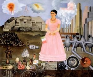 « Autoportrait à la frontière entre le Mexique et les Etats-Unis » – FRIDA KAHLO (1932) Huile sur métal, 31 x 35 cm - Collection Manuel et Maria Reyero, New-York.
