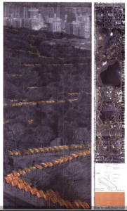 """Christo: The Gates, Project for Central Park, New York City. Drawing: 2004. In two parts: 244 x 38 cm and 244 x 106.6 cm (96"""" x 15"""" and 96"""" x 42""""). Pencil, charcoal, pastel, wax crayon, enamel paint, fabric sample, hand-drawn map, technical data tape. Photo:"""
